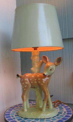 Vintage Chalkware Mid Century SIGNED I.B. Co Bambi Fawn Deer Lamp w/ Shade