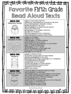 Read Aloud list categorized by genre.