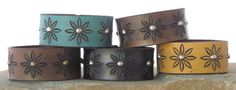 "Leather Bracelet / Leather Cuff / 1"" wide / Tooled Daisy Pattern / Black, Browm, Turquoise, Yellow / Snap Closure on Etsy, $20.00"