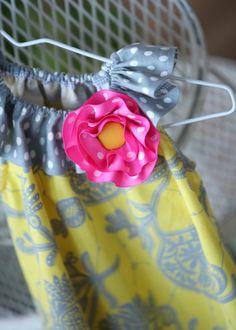 Lemon Lace Yellow and Grey Little Girls by mudpuddlesdandelions, $28.00
