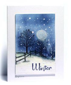 hand made card: MIX96 Snowy scene by Biggan .... stamped night scene ... translucent moon ... white falling snow  ... deightful!
