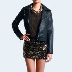 Black Leather  and sequins