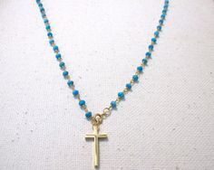 Gold Cross & Turquoise Adjustable Drop Necklace by MariahBennett, $54.00