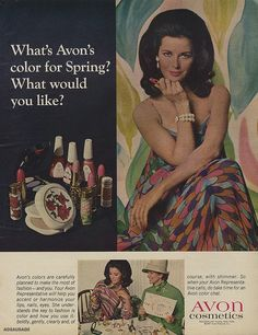 Avon Cosmetics Ad Vintage Make-up Advertisement Mod Woman Photo Print Bathroom / Vanity / Salon Wall Art Decor – cosmeticgirl Vintage Makeup Ads, Retro Makeup, Vintage Avon, Vintage Beauty, Vintage Vanity, Vintage Labels, Vintage Floral, Vintage Fashion, Beauty Ad