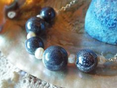 Blue Speckled Pottery paired with Freshwater Pearls, long necklace by Richarme Jewelry