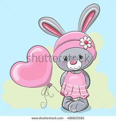 Cute Cartoon Rabbit Girl with a balloon
