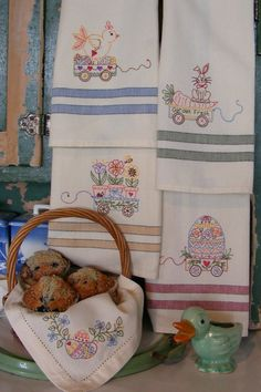 Easter Tea Towels - These cute towels are perfect for Spring. They are stitched in pretty pastel perle cotton. Pattern $10.00