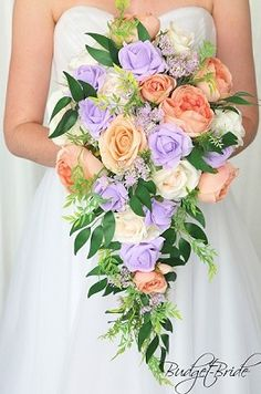 Lavender and peach cascading wedding flower brides bouquet Peach Lavender Wedding, Rose Wedding, Wedding Bride, Wedding Ideas, Prom Ideas, Friend Wedding, Wedding Themes, Wedding Stuff, Wedding Inspiration