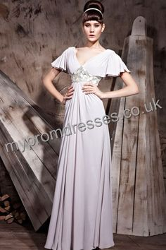 Floor Length Deep-v-neck Gray Satin A-line Evening Dress