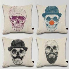 CUSHION SKULL SET - Cool skull, Dead Clown, Gentlemen never die, Beard is not dead / Designed by Balazs Solti / Made by OneRevolt.com / #쿠션 #원리볼트 #인텔리어 #홈데코 #해골 #skull #beard #clown #design #cushion