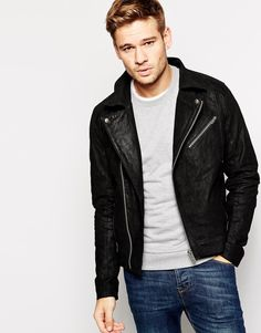 Solid Leather Biker Jacket
