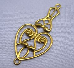 10 pcs Earring Charms Heart Stamping Filigree Raw Brass Findings Fashion Design bf098
