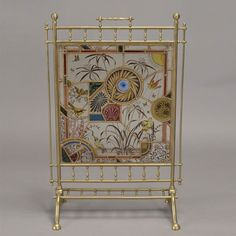 Aesthetic Movement Stained Glass Fire Screen