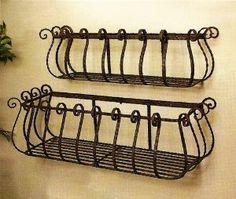 "Window box for towels...  Amazon.com: Set of 2 Wrought Iron 36"" & 30"" Large Castilian Window Planters: Patio, Lawn & Garden"