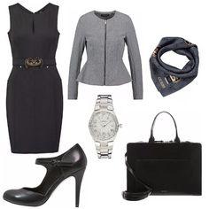 Look perfetto per una donna d'affari. Il tubino nero che non passa mai di moda è adatto anche per gli appuntamenti di lavoro. Un outfit semplice, comodo e anche di classe.