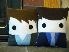 Torchwood inspired plush pillow, Ianto Jones. Jack Harkness, decorative pillow on Etsy, $32.37 CAD