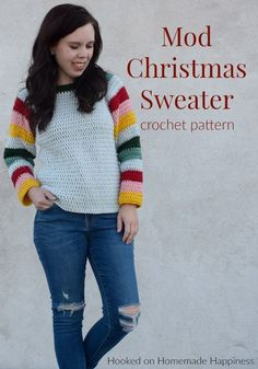 Mod Christmas Sweater Crochet Pattern Woman Knitwear and Sweaters wonder woman christmas sweater Crochet Bodycon Dresses, Black Crochet Dress, Crochet Blouse, Couple Christmas, Modern Christmas, Christmas Colors, Crochet Designs, Crochet Patterns, Christmas Sweaters For Women