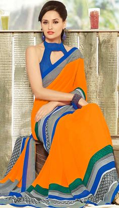 Select  the Fashionable Latest Orange Georgette Printed Saree Online with Great Collection.  ‪#‎Price‬ INR- 1543 Link- http://alturl.com/o5bcg