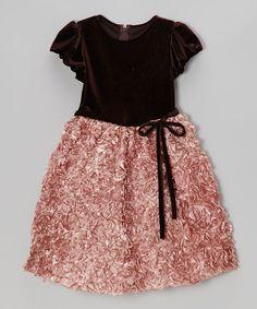 Brown & Rose Velvet Rosette Dress - Toddler & Girls