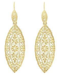 Art Deco Dangling Leaf Filigree Diamond Earrings with Yellow Gold Vermeil