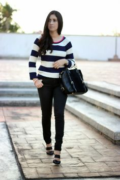 Stripes sweater and black jeans