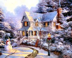 christmas cozy homes thomas kinkade christmas art vintage christmas . The Night Before Christmas, Christmas Past, Christmas Pictures, Cozy Christmas, Thomas Kinkade Art, Thomas Kinkade Christmas, Kinkade Paintings, Oil Paintings, Thomas Kincaid