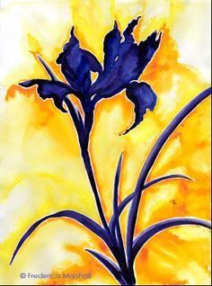 japanese brush painting iris - Google Search
