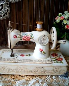 """Sewing Crafts """"ROSE"""" children's sewing machine - shabby chic, retro, decoupage, white, ussr - """"ROSE""""-children's sewing machine - buy or order in an online shop on Livemaster Shabby Vintage, Decoupage Vintage, Sewing Art, Sewing Rooms, Sewing Crafts, Antique Sewing Machines, Retro Fabric, Sewing Table, Shabby Chic Decor"""