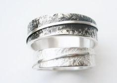 lebensbogen Eheringe aus Silber mit geprägter von STRUKTURATA