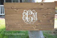Fancy Monogram Guest Book Alternative, Wood Board Amanda G Guest Books on Etsy #wedding #guestbook Wood Guest Book