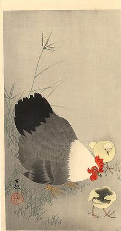 Hen and two chicks in grass - Ohara Koson