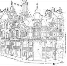 Fantastic Structures: A Coloring Book of Amazing Buildings Real and Imagined Adult Coloring Book Pages, Coloring Pages To Print, Colouring Pages, Coloring Sheets, Coloring Books, Amazing Buildings, House Drawing, Printable Coloring, Pyrography