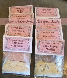 DIY Easy Bake Oven Themed Gift - DIY mixes and utensils to go with the oven! | hillhousehomestead.blogspot.com |