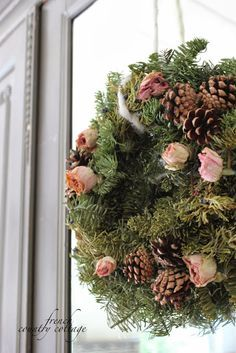 dried roses in wreath