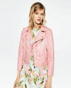 Pink Platinum Womens Denim//Pu Moto Jacket