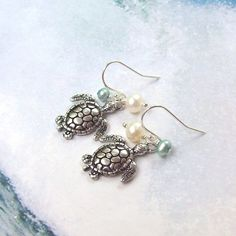 Sea Turtle Earrings, Tropical Earrings, Sterling Silver Earrings, aqua blue, hooks, freshwater pearls, seaturtle, summer on Etsy, $22.00