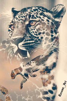 Leopard double exposure   #art #animals