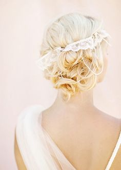 Accessorize your hair with lace, pearls, flowers...many ideas! #weddinghair