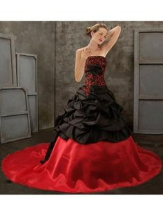 Black And Red Gothic Wedding Dress Tafeta Long Train Charming Strapless Lace-up Staeampunk Victorian Vampire Secret Wild Modern Attractive Online with $134.83/Piece on Shiqiushibridal's Store   DHgate.com