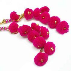 CZ Stone Pink Acrylic Beaded Pom Pom Latkans by Indianbeautifulart