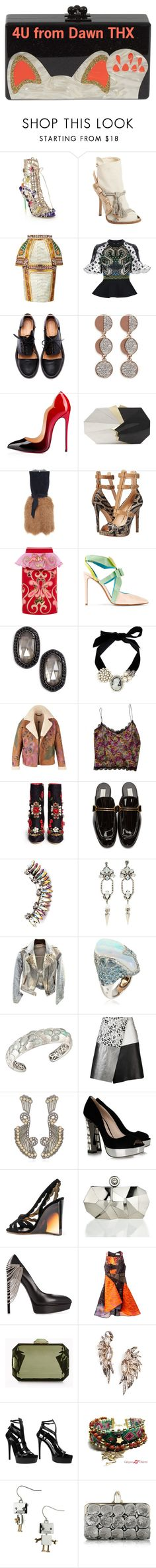 """THX & 4 U"" by dawn-lindenberg ❤ liked on Polyvore featuring Versus, Sophia Webster, Giuseppe Zanotti, Mary Katrantzou, Peter Pilotto, Balenciaga, Minimarket, Pamela Love, Christian Louboutin and Jill Haber"