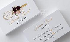 Baking Business Cards, Printable Business Cards, Free Business Cards, Business Card Design, Glitter Flowers, Gold Glitter, Visiting Card Design, Name Card Design, Bakery Logo Design