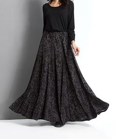Look at this #zulilyfind! Charcoal Damask Maxi Skirt by Reborn Collection #zulilyfinds