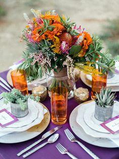 tropical inspired tablescape - photo by Danielle DeFiore Photography http://ruffledblog.com/bohemian-colorado-elopement