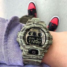 camo with red shoe #gshock #watches