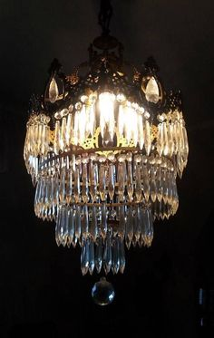 Antique French Art Nouveau Wedding Cake Chandelier Crystal Icicle Prisms 4-Tier in Antiques | eBay
