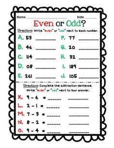 Odd and Even Numbers: Activities, Worksheets, Printables