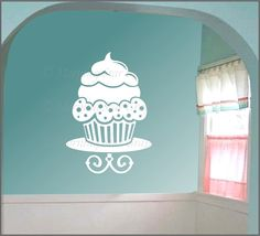 LARGE CUPCAKE - Wall Art Decal. $21.95, via Etsy. Vinyl Wall Decals, Wall Stickers, Large Cupcake, Glass Front Door, Glass Door, Kitchen Vinyl, Cupcake Shops, Window Clings, Kids Decor