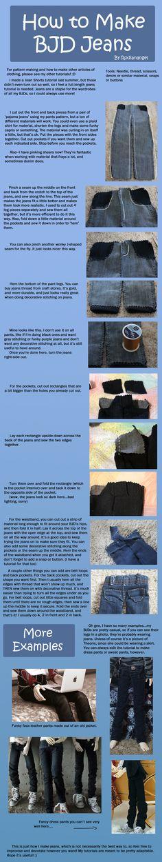 How to Make BJD Jeans by RodianAngel.deviantart.com on @deviantART