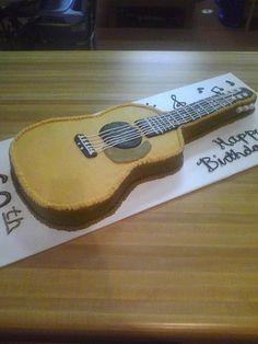 Guitar Cake covered in buttercream